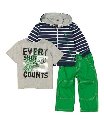 447d9cc9e Navy & Gray Stripe Hoodie Set - Infant & Boys