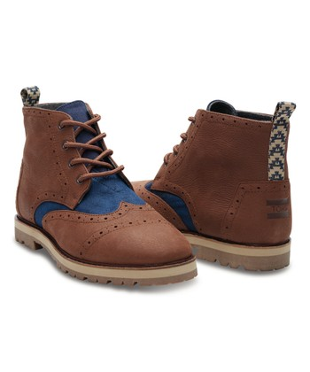 Chestnut Brown Leather   Textile Brogue Boot - Men 322f8001d1ee