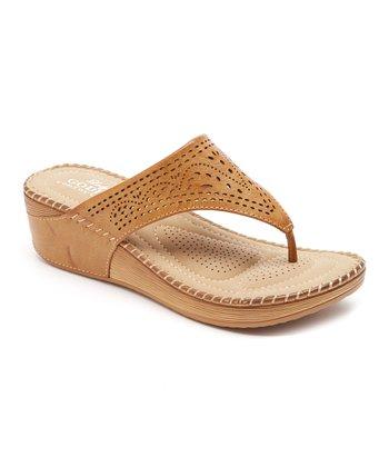 2410c1762343 Tan Pointed Perforation Sandal - Women