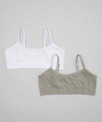 a80dc01f0ff7ab White   Gray Seamless Bralette Set - Girls