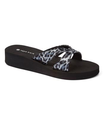 cd144622c0d Black   Blue Leopard Wedge Slide - Women