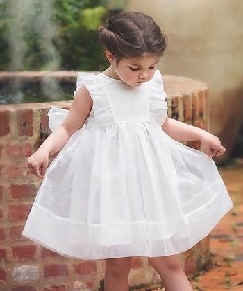 14cdb9047c White Flutter-Sleeve Bow Dress - Girls