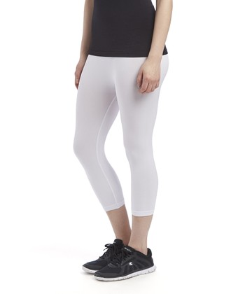 d1c2b2353b158 White Slim Seamless Capri Leggings - Women