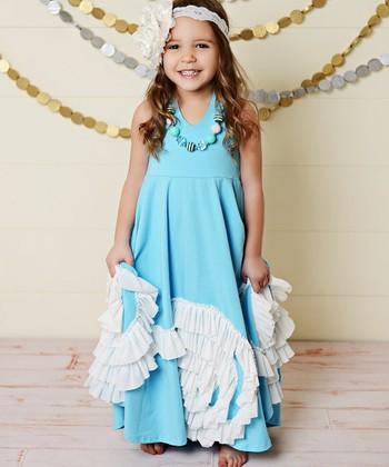 ecb74531c22 Blue Swirl Ruffle Fit & Flare Dress - Toddler