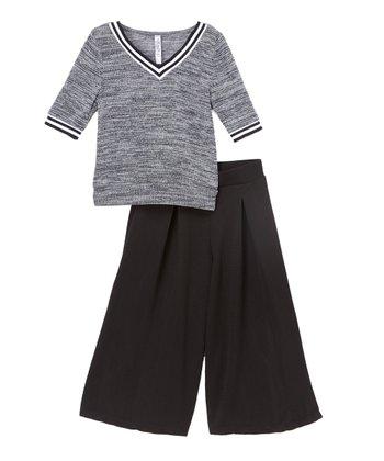 00c05580adada Black V-Neck Top & Gaucho Pants - Girls