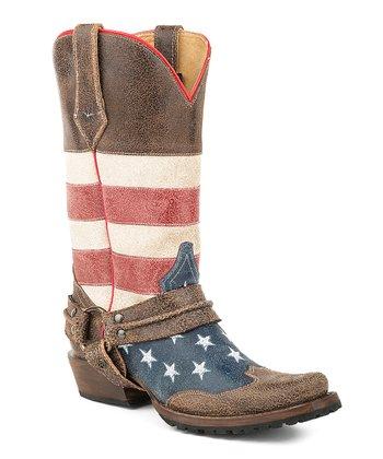 0882cea79 Brown Americana Biker Harness Leather Cowboy Boot - Men