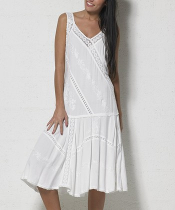 d47db661eed White Lace Embroidered Drop-Waist Dress - Women   Plus