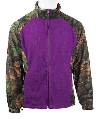 c742d6e6826cf Purple & Green Camo Fleece Jacket - Girls
