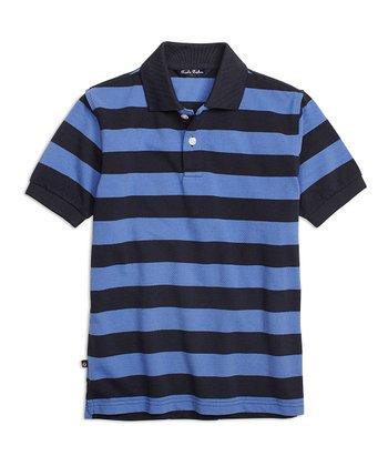 0ff8f7ed Blue & Black Stripe Piqué Polo - Boys