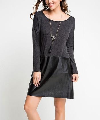 86f5daf4935 Black Faux Leather Drop-Waist Tunic Dress - Women