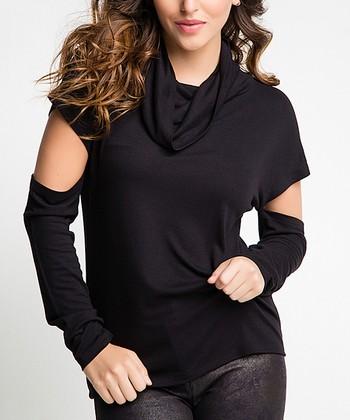 edf3a6d3670 Black Cutout Cowl Neck Top - Women
