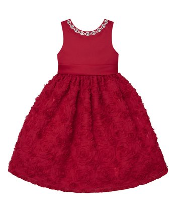 Holiday Red Jewel Neck Rosette A Line Dress S