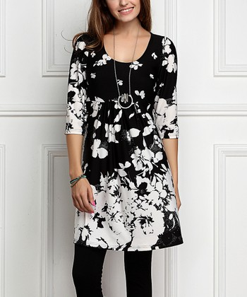 af6fce30135 Black   White Floral Empire-Waist Tunic Dress - Plus