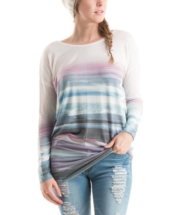 0ab3c0d0ee8d4 Teal   Magenta Abstract Stripe Top - Women