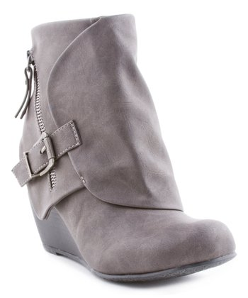 d324f541b717 Gray Flap Wedge Ankle Boot - Women