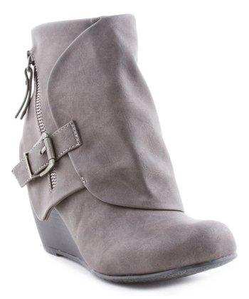Gray Flap Wedge Ankle Boot - Women d9eab0cc3389