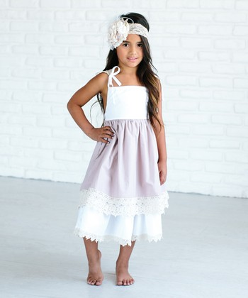 11a41de2c0e Dusty Pink Rosette Ruffle Maxi Dress - Girls. White & Purple Crochet A-Line  Dress - Girls