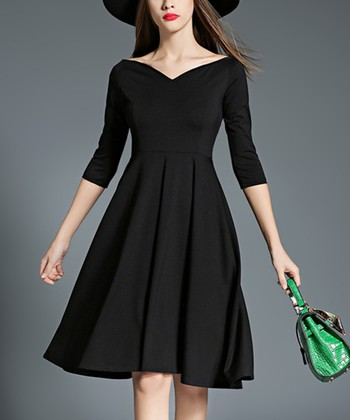 c90f16719461 Black Pleated Fit & Flare Dress - Women