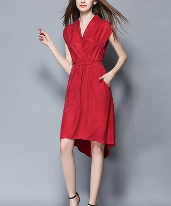 afd5dbf26 Red Wine Surplice Hi-Low Dress - Women