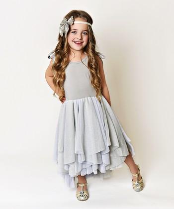 5c430840b4c Gray & Silver Dress Ruffle A-Line Dress - Girls. Dusty Pink Rosette Ruffle  Maxi ...