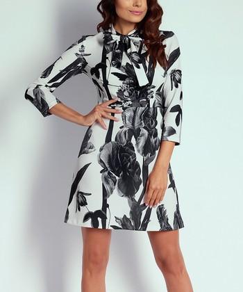 42dac3815461b Black   White Floral Tie-Neck A-Line Dress - Women
