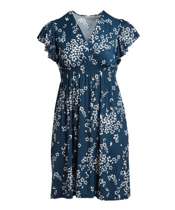 62f12da9062 Steel Blue Floral Surplice Empire-Waist Dress - Women   Plus