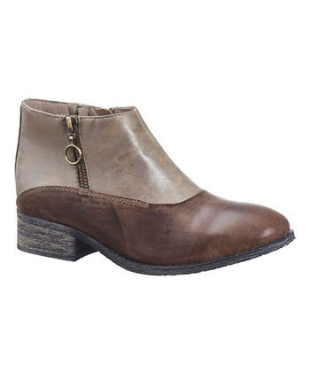 533ffb817c9 Gray   Brown Leather Ankle Boot - Women