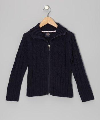 46cbdd56d33 Navy Cable-Knit Zip-Up Cardigan - Girls