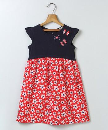 b234d86a6c30 Navy & Red Floral Babydoll Dress - Girls