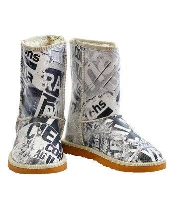 aa584d091aa71 Black   White Vintage Newspaper Boot - Women
