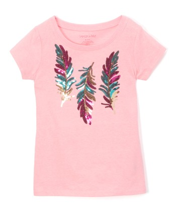 932c7bf5e0a8c Pink Candy Sequin Feather Tee - Girls