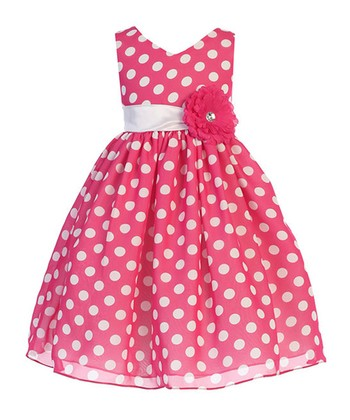 b8f1924af62ba Fuchsia Polka Dot Chiffon A-Line Dress - Toddler & Girls
