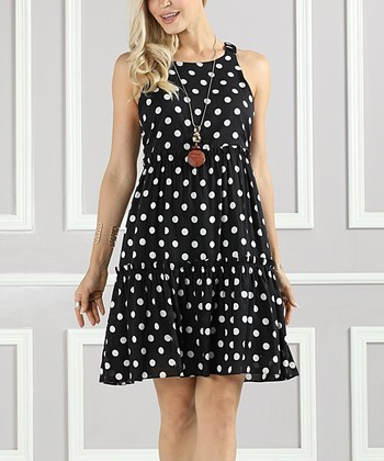 e6fa5a54892 Black   White Polka Dot Tiered A-Line Dress - Women