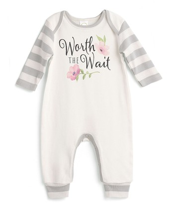 55d02311296 Ivory   Gray Stripe  Worth The Wait  Playsuit - Newborn   Infant