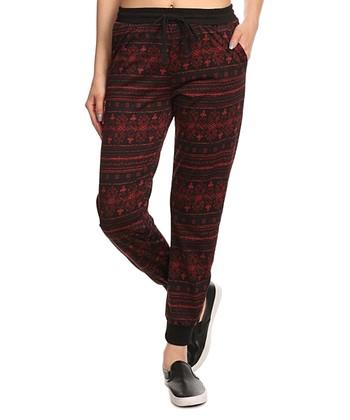 Black & Red Fair Isle Fleece-Lined Leggings | zulily