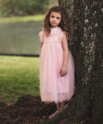 flower girl dresses for kids white trimmed in light pink around stomach