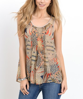 319fe754aa Taupe Abstract Patchwork Braid-Back Tank - Women · White Stripe Knit-Back  ...