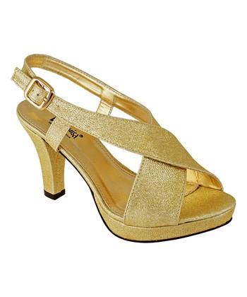 ae021b4de549 Gold Crossover Glitter Sandal - Women