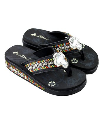 93b1a8b41e0000 Black   Orange Floral Cross Concho Wedge Flip-Flop - Women