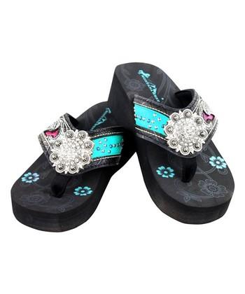 84a74dc51b33 Black   Pink Floral Concho Wedge Flip-Flop - Women