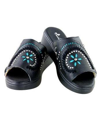 7b92cb75c28e Black Studded Swirl Star Platform Wedge Slide - Women