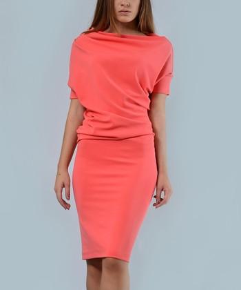 3efc7257cc2 Coral Drape Sheath Dress - Plus