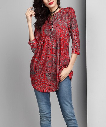 ffe8b68a499 Red Paisley Notch Neck Button-Front Tunic - Women