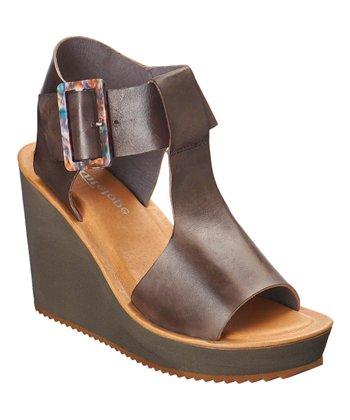 23a718df62c Gray Tortoiseshell-Buckle Leather T-Strap Sandal - Women