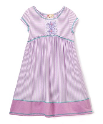 1228fe355d79 Lavender Stripe Appliqué Empire-Waist Dress - Toddler & Girls · Charcoal &  Ivory Stripe Lace ...
