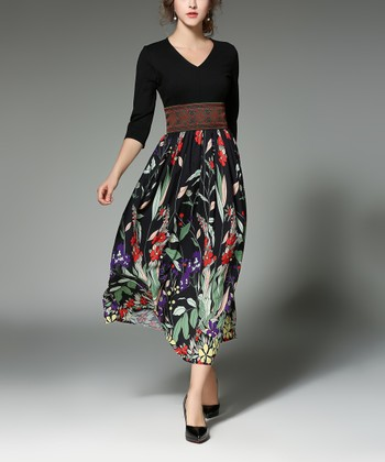 c75b6443776a ... Vicky and Lucas 234 results. Black Pleated Fit & Flare Dress - Women.  Black & Red Floral V-Neck Midi Dress - Women
