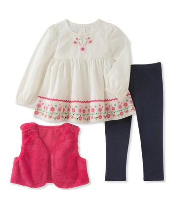 cbd56c0f1abef White & Pink Floral Embroidered Empire-Waist Tunic Set - Infant & Toddler