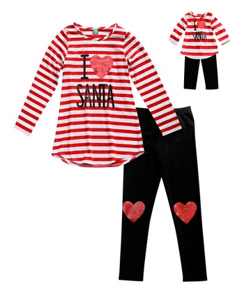 56c377dbf3 Red   White Stripe  Santa  Tunic Set   Doll Outfit - Girls