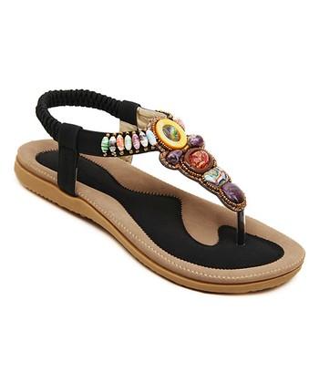 5c3a374fd183 Black Beaded Sandal - Women