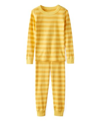 c71fe11c Swedish Yellow Bold Stripe Organic Cotton Long John Pajamas - Girls